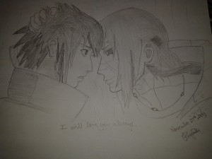 "Itachi and Sasuke. ""I will love you always."" Brother love. The most beautiful thing ever. Plus *cough* Itachi is my anime crush. So that."